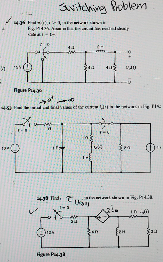 switching Problem 1 14.36 Find v. (t), 1 > 0, in the network shown in Fig. P14.36. Assume that the circuit has reached steady
