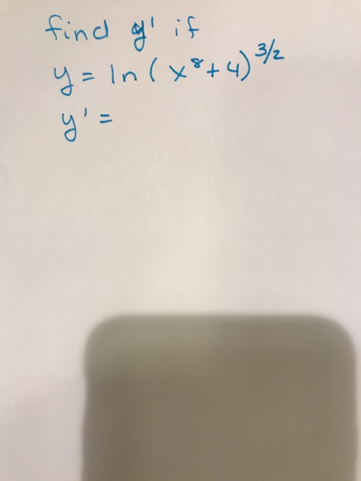 find of if y= ln (+8+4) /