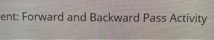 ent: Forward and Backward Pass Activity
