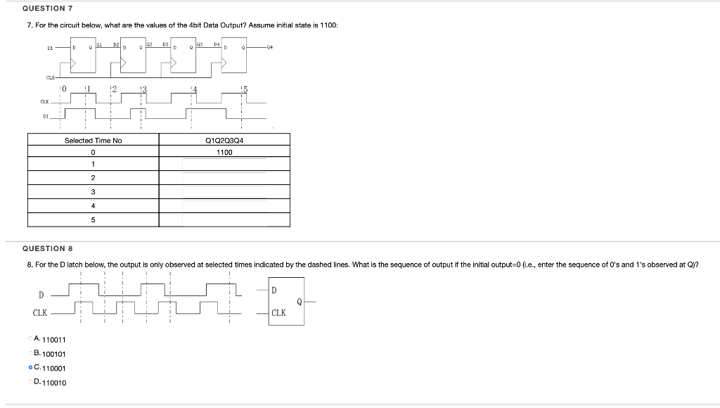 QUESTION 7 7. For the circuit below, what are the values of the 4bit Data Output? Assume initial state is 1100: DI — 0 0 202