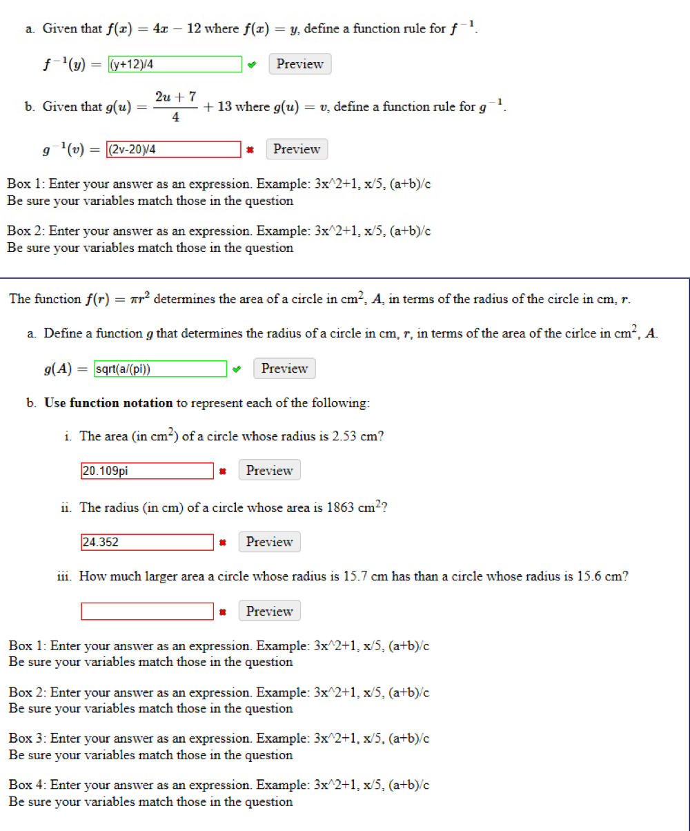 a. Given that f(x) = 4.2 - 12 where f(x) = y, define a function rule for f-1. Preview f-(y) = (y+1274 2u+7 b. Given that g(u
