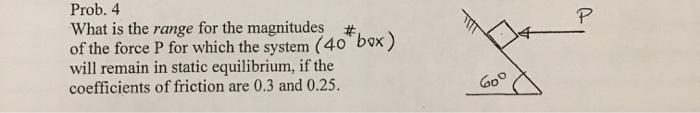 #box) Prob. 4 What is the range for the magnitudes #. of the force P for which the system (40 box) will remain in static equi