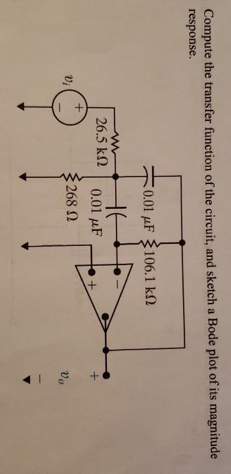 Compute the transfer function of the circuit, and sketch a Bode plot of its magnitude response. 0.01 uF 106.1 kN 26.5 k2 0.01