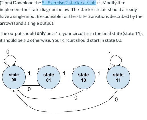 (2 pts) Download the SL Exercise 2 starter circuit c. Modify it to implement the state diagram below. The starter circuit sho