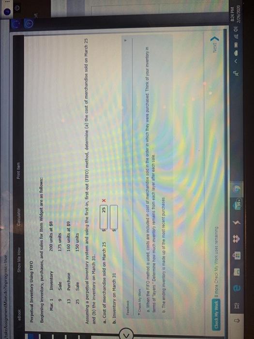 take AssignmentMain.do?inprogress=true O eBook Show Me How Calculator Printem Perpetual Inventory Using FIFO Beginning invent