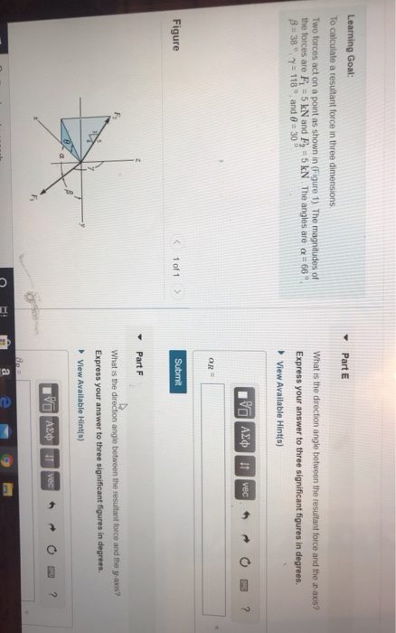 Learning Goal: To calculate a resultant force in three dimensions Part E Two forces act on a point as shown in (Figure 1). Th