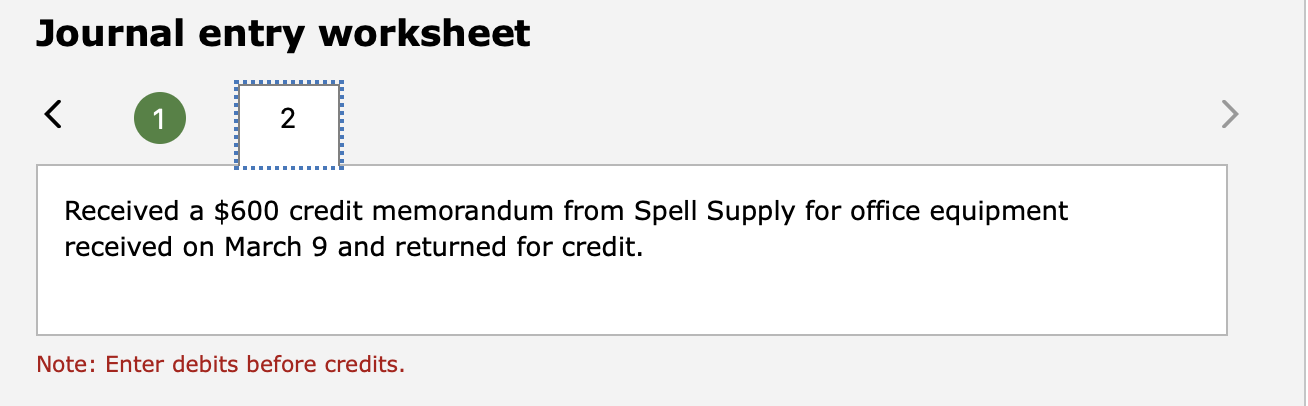 Journal entry worksheet Received a $600 credit memorandum from Spell Supply for office equipment received on March 9 and retu