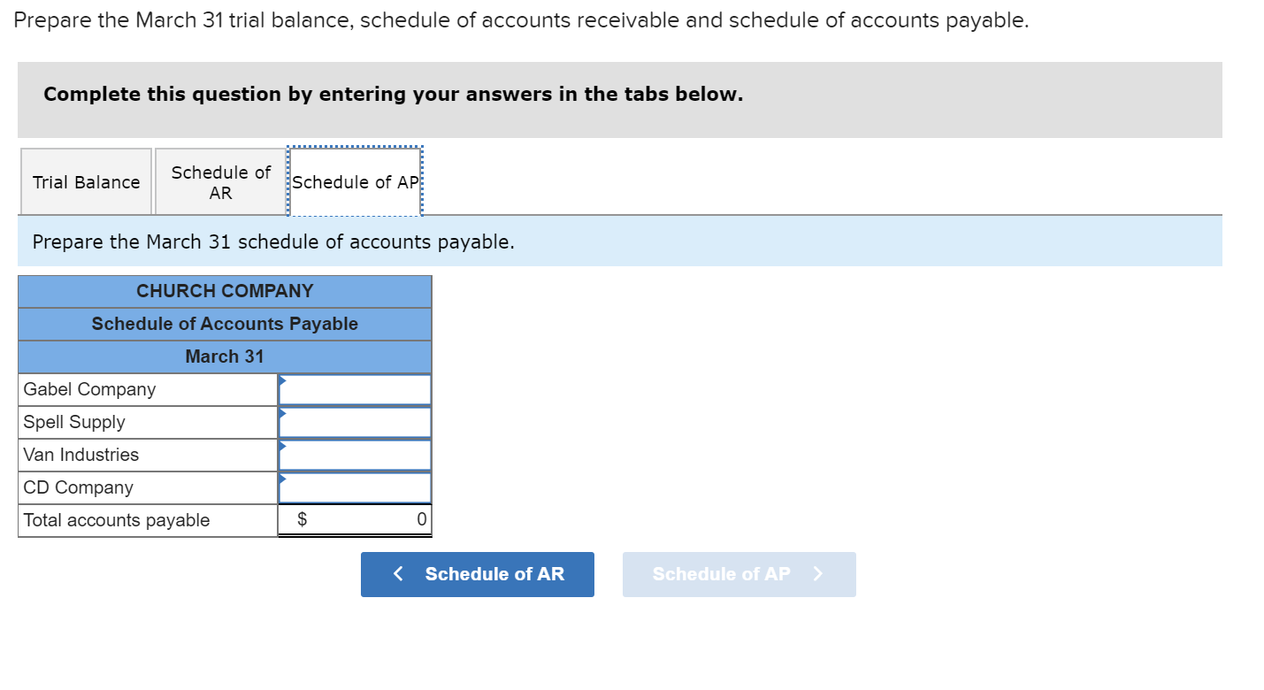 Prepare the March 31 trial balance, schedule of accounts receivable and schedule of accounts payable. Complete this question