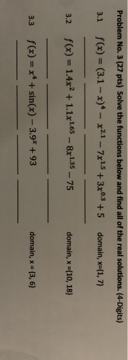 Problem No. 3 (27 pts) Solve the functions below and find all of the real solutions. (4-Digits) 3.1 f(x) = (3.1 - x)* - x2.1