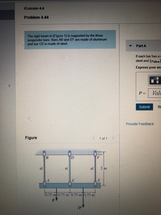(Lesson 4.4 Problem 4.44 The rigid bearn in (Figure 1) is supported by the three suspender bars. Bars AB and EF are made of a