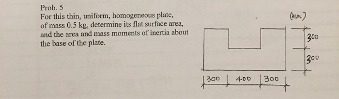 (mm) Prob. 5 For this thin, uniform, homogeneous plate, of mass 0.5 kg, determine its flat surface area, and the area and mas