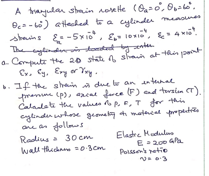 A triangular strain rosette CO2=0, 06=60°. Oc=-60) atteched to a cylinder measures strams &=-5x104, {o= loxio, &c= 4x104. The