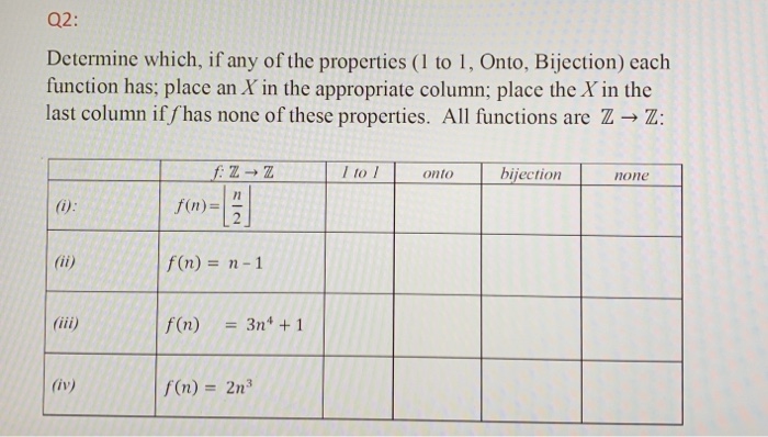 Q2: Determine which, if any of the properties (1 to 1, Onto, Bijection) each function has; place an X in the appropriate colu