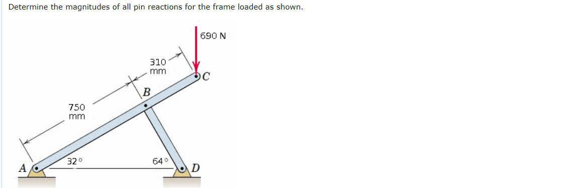 Determine the magnitudes of all pin reactions for the frame loaded as shown. 690 N 310 mm 750 mm 320