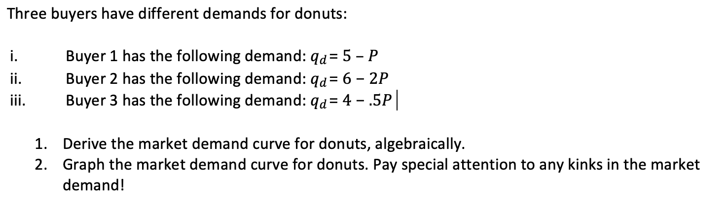 Three buyers have different demands for donuts: i. Buyer 1 has the following demand: qd= 5 - P. Buyer 2 has the following dem