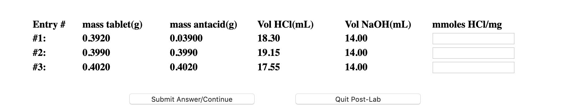 mmoles HCl/mg Entry # #1: #2: #3: mass tablet(g) 0.3920 0.3990 0.4020 mass antacid(g) 0.03900 0.3990 0.4020 Vol HCl(mL) 18.30