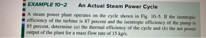 EXAMPLE 10-2 An Actual Steam Power Cycle A steam power plant operates on the cycle shown in Fig. 10-5. If the isentropic effi