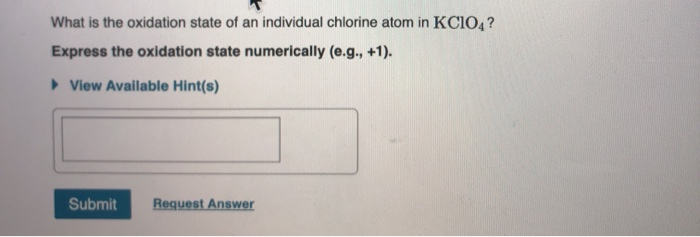 What is the oxidation state of an individual chlorine atom in KCIOA? Express the oxidation state numerically (e.g., +1). View