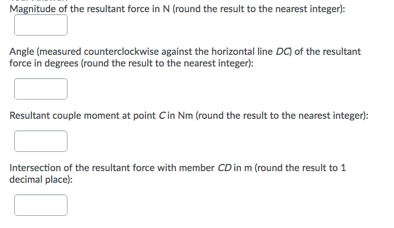 Magnitude of the resultant force in N (round the result to the nearest integer): Angle (measured counterclockwise against the