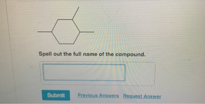 Spell out the full name of the compound. Submit Previous Answers Request Answer