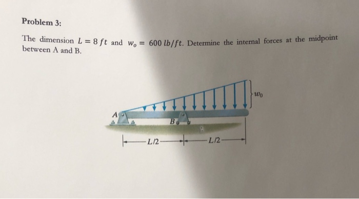 Problem 3: The dimension L = 8 ft and w= 600 lb/ft. Determin = 8 ft and we = 600 lb/ft. Determine the internal forces at the