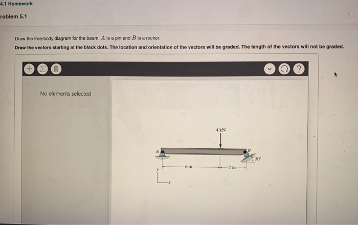 4.1 Homework roblem 5.1 Draw the tree-body diagram for the beam. A is a pin and B is a rocker. Draw the vectors starting at t