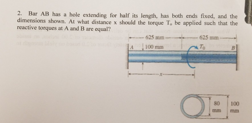 2. Bar AB has a hole extending for half its length, has both ends fixed, and the dimensions shown. At what distance x should