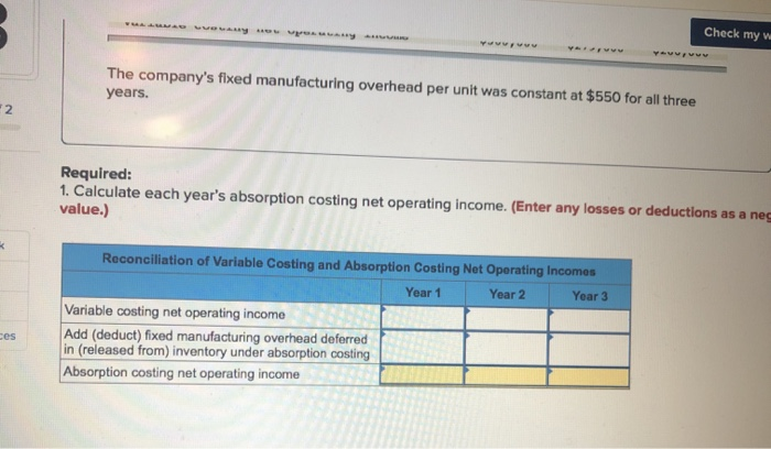 MERA Check my w The companys fixed manufacturing overhead per unit was constant at $550 for all three years. Required: 1. Ca