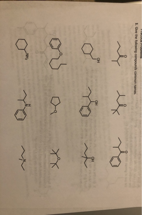 LUOTEUTON 1. Give the following compounds common names. - 2 OH OH 21 22