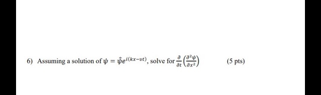 6) Assuming a solution of = Del(kx-ut), solve for (5 pts)