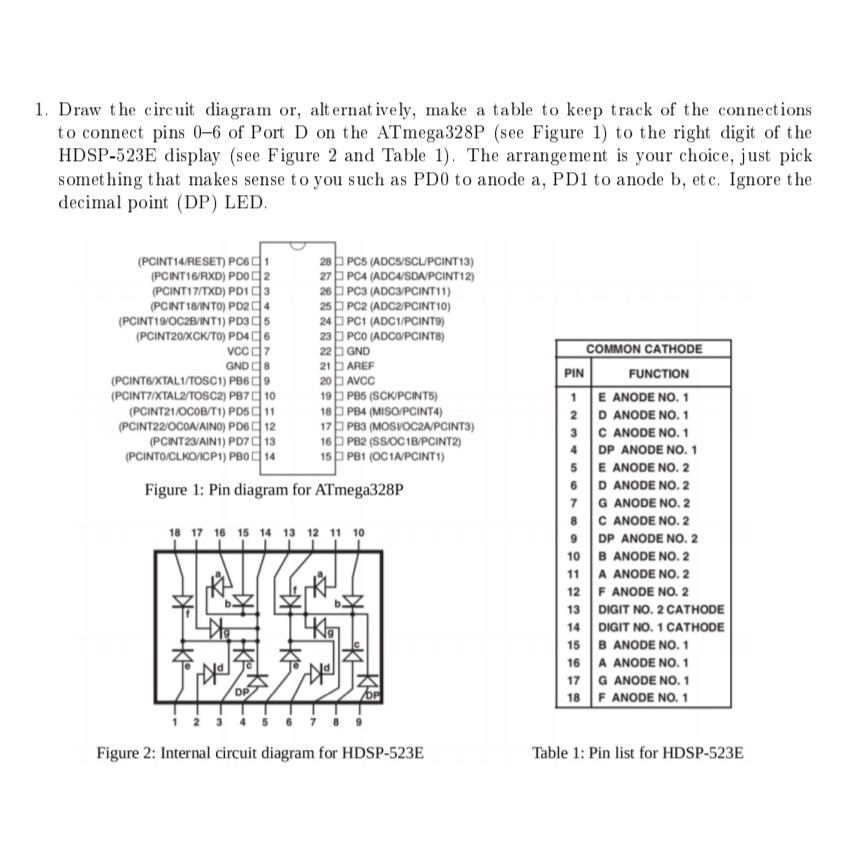 1. Draw the circuit diagram or, alternatively, make a table to keep track of the connections to connect pins 0-6 of Port D on