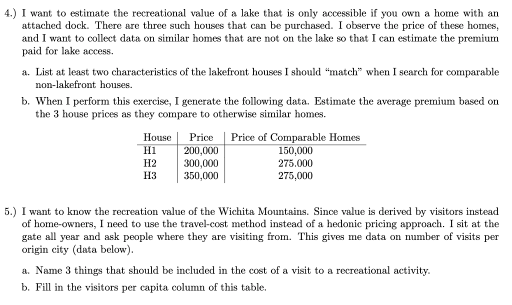 4.) I want to estimate the recreational value of a lake that is only accessible if you own a home with an attached dock. Ther