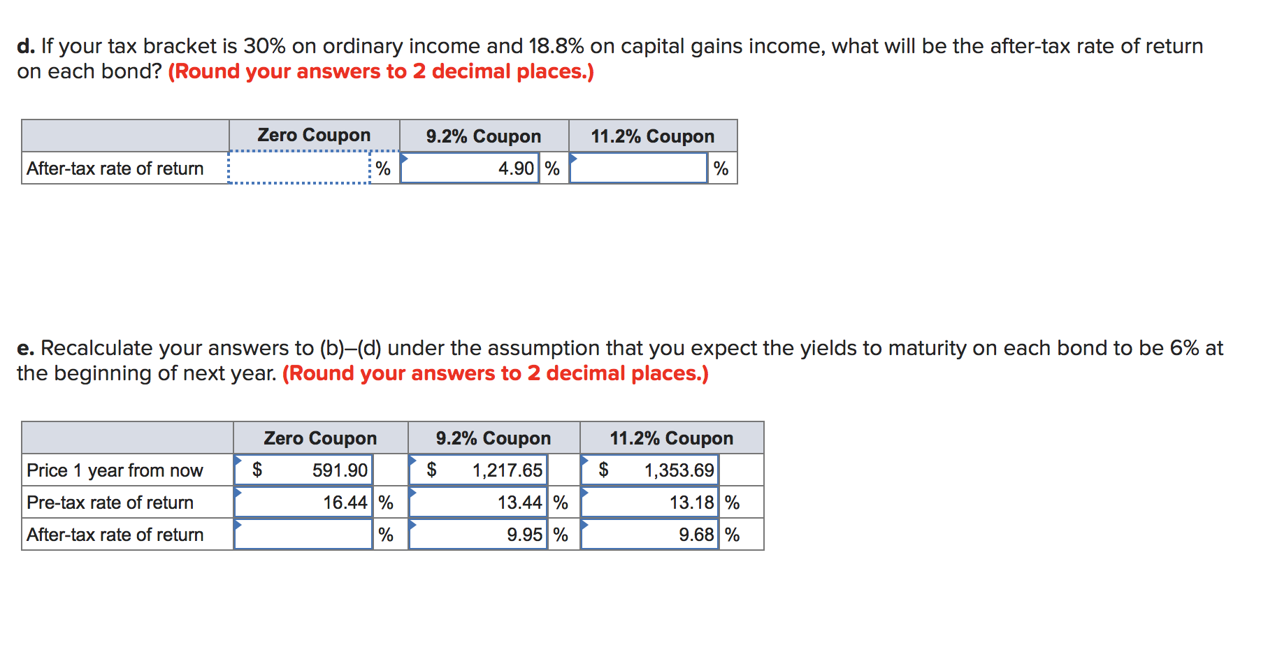 d. If your tax bracket is 30% on ordinary income and 18.8% on capital gains income, what will be the after-tax rate of return
