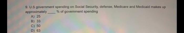 9. U.S government spending on Social Security, defense, Medicare and Medicaid makes up approximately % of government spending