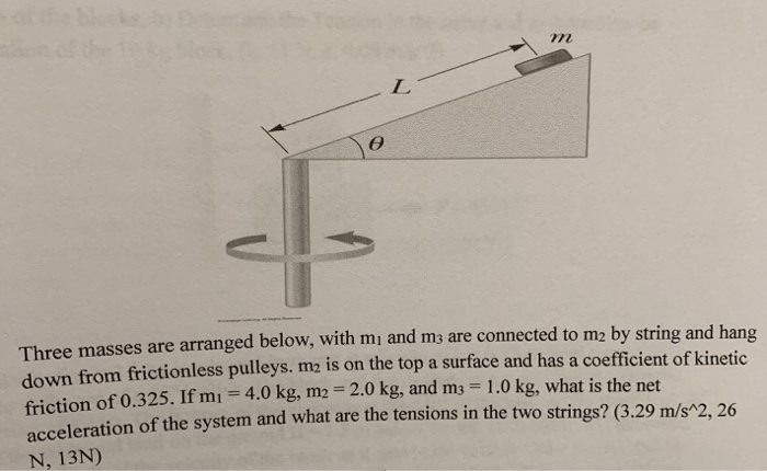 772 Three masses are arranged below, with mj and m3 are connected to m2 by string and hang down from frictionless pulleys. m2
