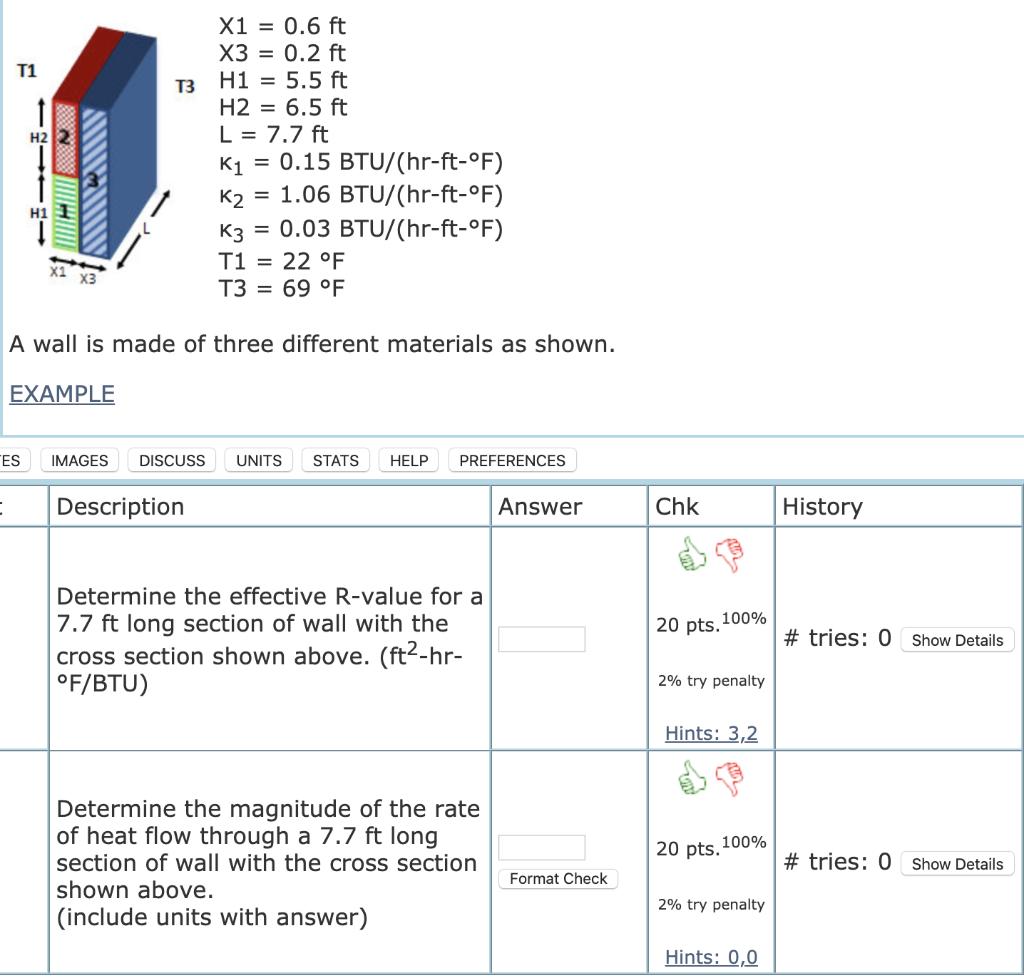 X1 = 0.6 ft X3 = 0.2 ft H1 = 5.5 ft H2 = 6.5 ft L = 7.7 ft K1 = 0.15 BTU/(hr-ft-°F) K2 = 1.06 BTU/(hr-ft-°F) K3 = 0.03 BTU/(h