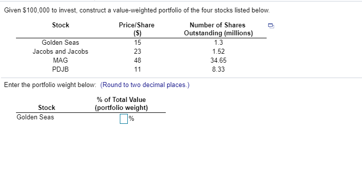 Given $100,000 to invest, construct a value-weighted portfolio of the four stocks listed below. Stock Price/Share ($) Number