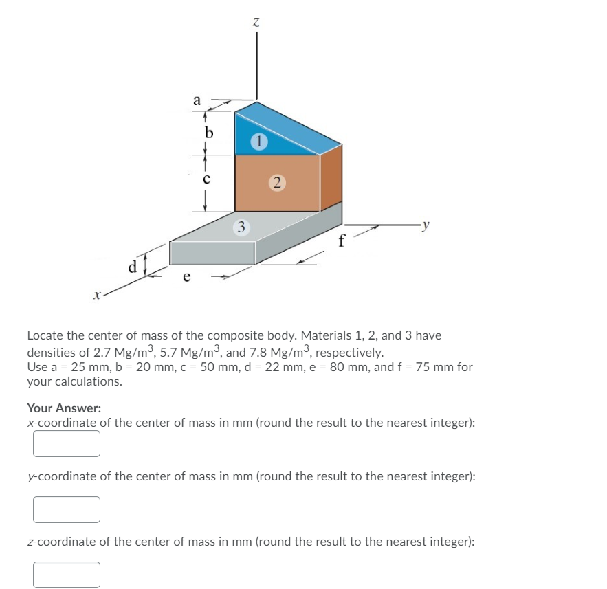 z f - Locate the center of mass of the composite body. Materials 1, 2, and 3 have densities of 2.7 Mg/mº, 5.7 Mg/m, and 7.8