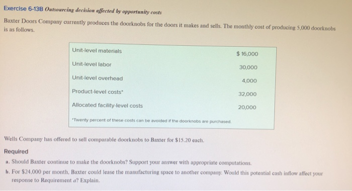Exercise 6-13B Outsourcing decision affected by opportunity costs Baxter Doors Company currently produces the doorknobs for t