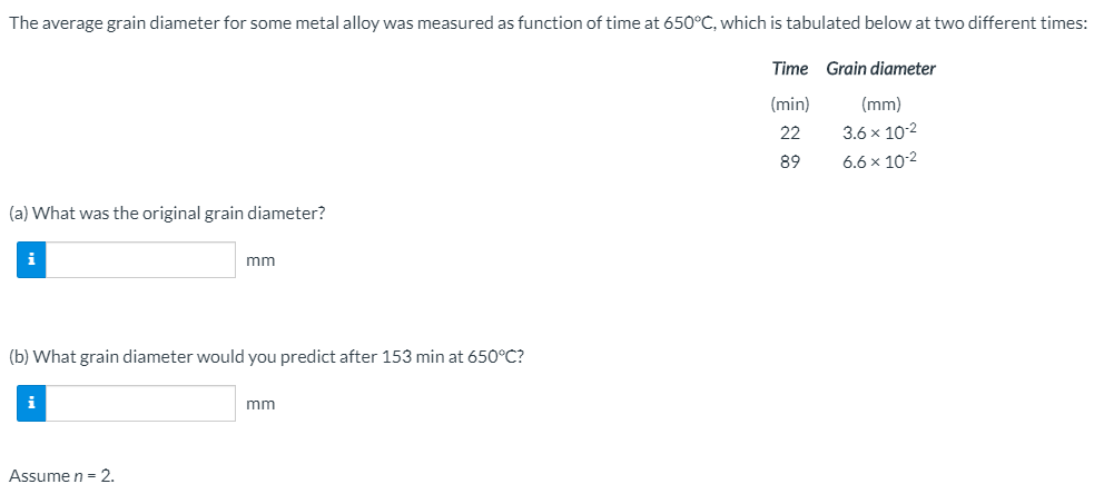 The average grain diameter for some metal alloy was measured as function of time at 650°C, which is tabulated below at two di