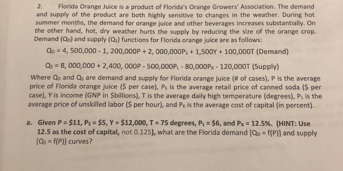 2. Florida Orange Juice is a product of Floridas Orange Growers Association. The demand and supply of the product are both