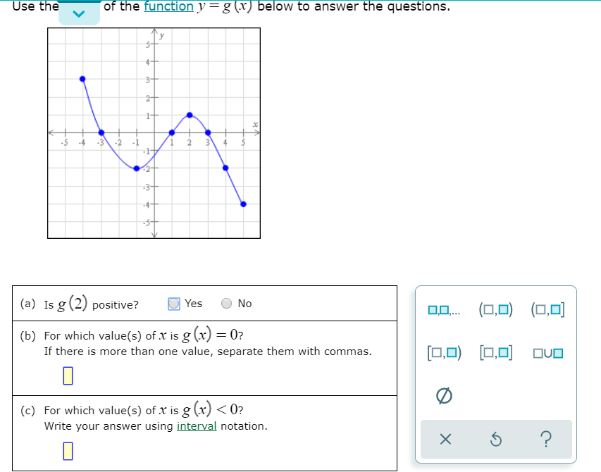 Use the of the function y=g(x) below to answer the questions. -5 -4 -3 -2 -1 /1 2 3 4 5 (a) Is g(2) positive? Yes No OO.. (0,