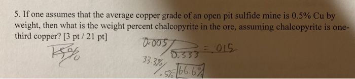 5. If one assumes that the average copper grade of an open pit sulfide mine is 0.5% Cu by weight, then what is the weight per