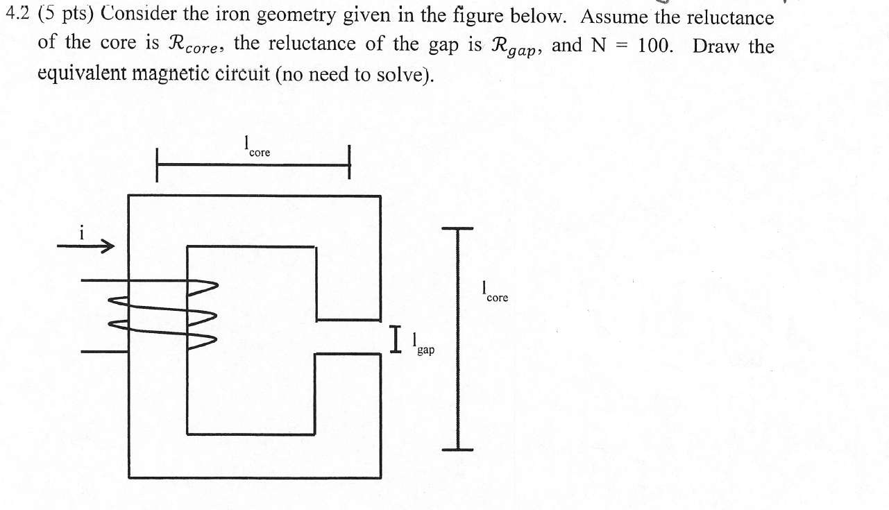 4.2 (5 pts) Consider the iron geometry given in the figure below. Assume the reluctance of the core is Rcore, the reluctance