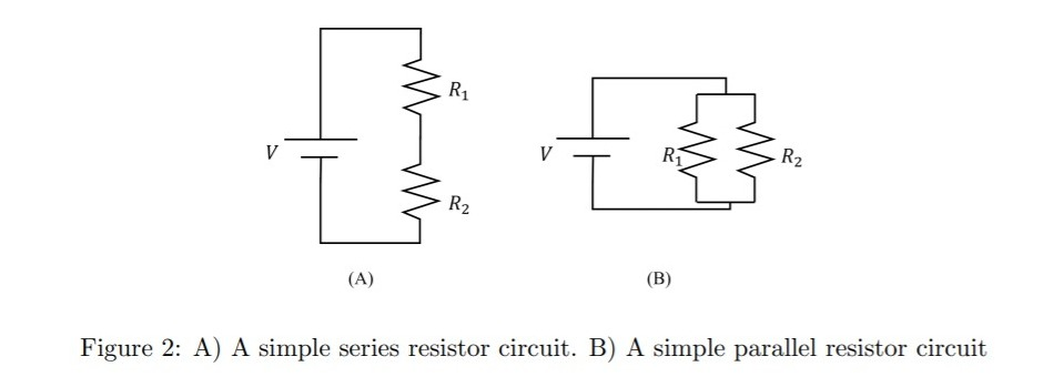 RS > R? (A) (B) Figure 2: A) A simple series resistor circuit. B) A simple parallel resistor circuit