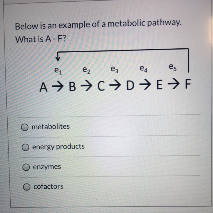Below is an example of a metabolic pathway. What is A - F? e ez ez et és A B C D E F O O metabolites O energy products O enzy