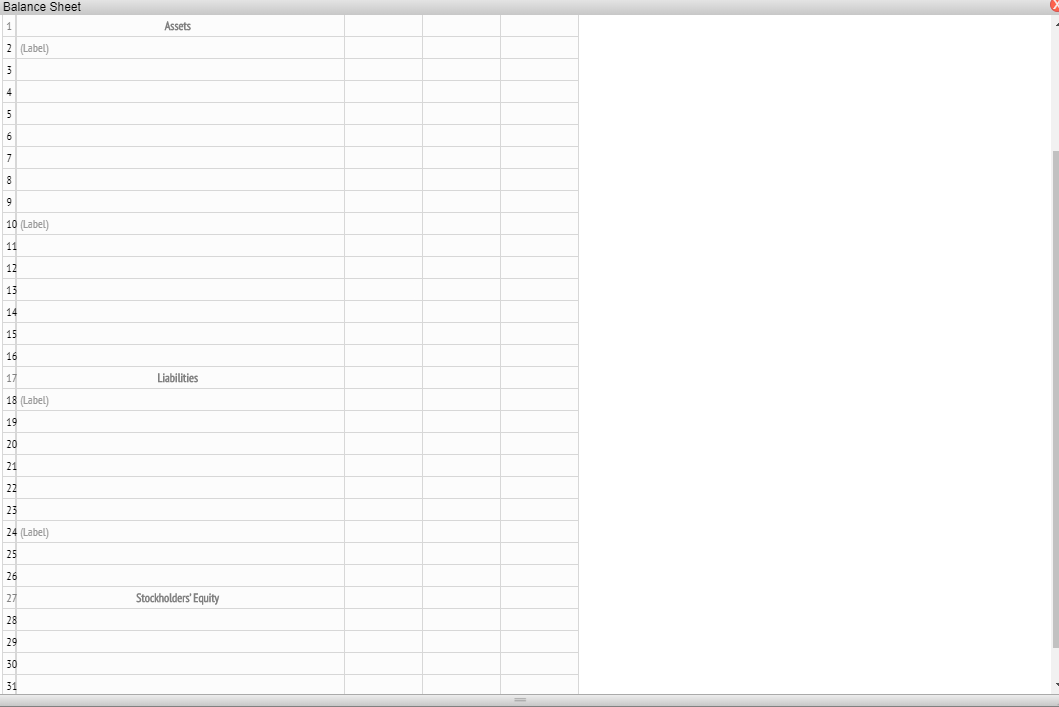 Balance Sheet Assets 2 Label) 10 (Label) Liabilities 18 Label) 24 Label) Stockholders Equity