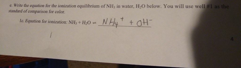 e. Write the equation for the ionization equilibrium of NH3 in water, H2O below. You will use well #1 as the standard of comp