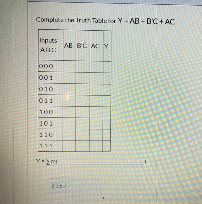 Complete the Truth Table for Y = AB + BC + AC Inputs ABC 11 ec AB BC ACY 000 001 100 101 110 111 Y = m( 2.3.6.7